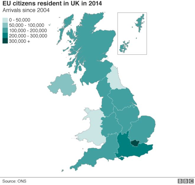 Reality Check How Did EU Population Of UK Grow After BBC News - Bbc us immigration map