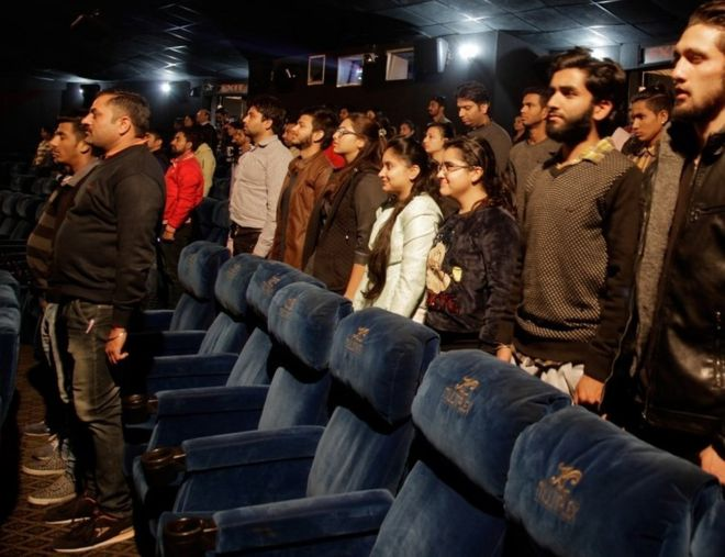 Image result for Singing of national anthem before film screening