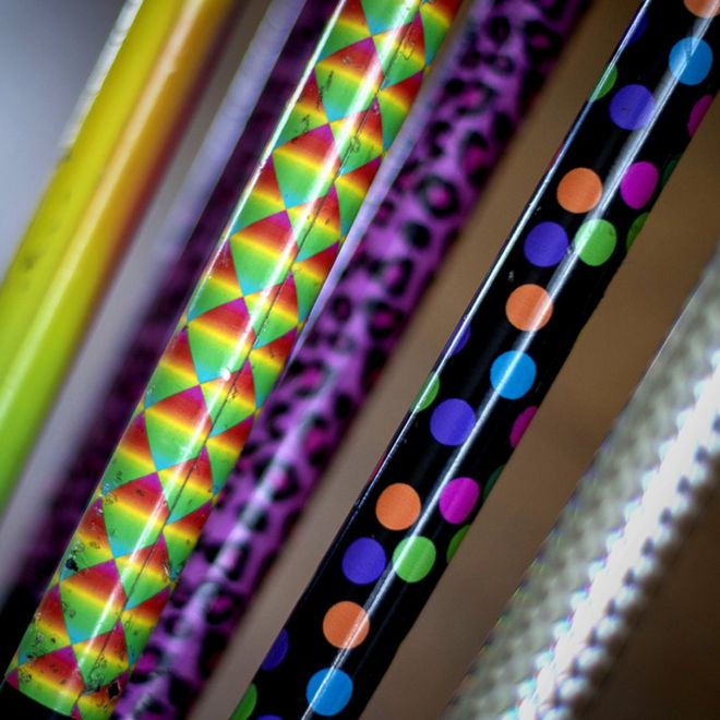 Carrie Webster's patterned crutches