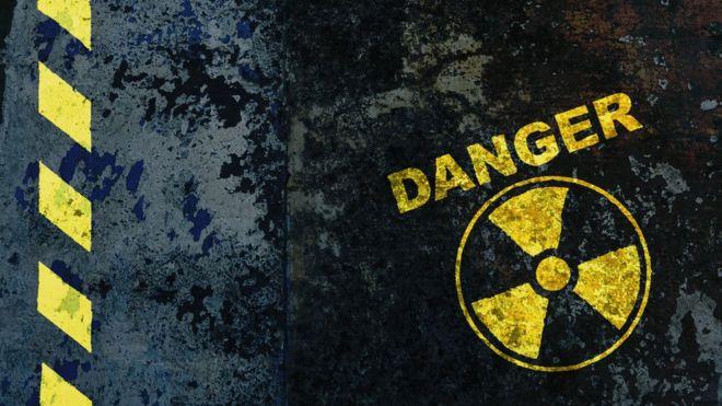 Señal de peligro por radiación.