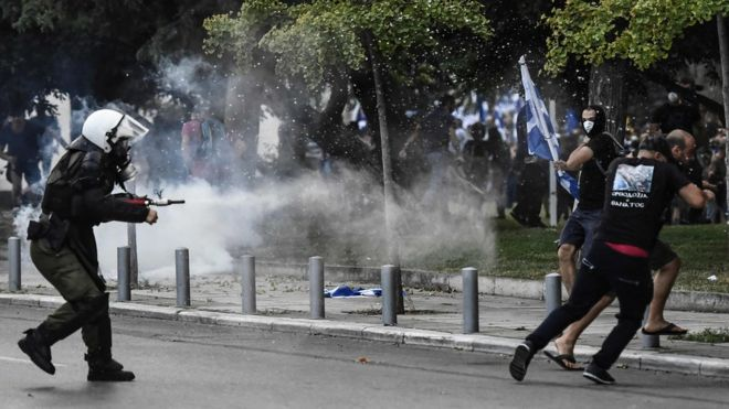 Greek riot police fire tear gas at Macedonia name protesters