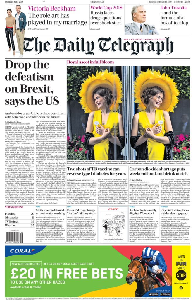 Daily Telegraph front page - 22/06/18