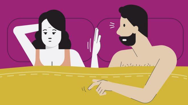 Ilustração mostra casal na cama com expressões de insatisfação