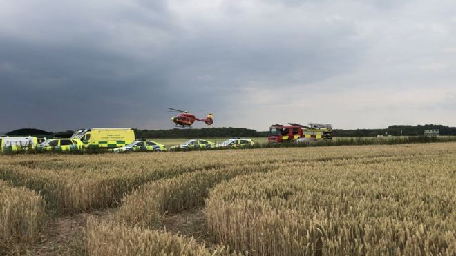 Two men hurt in Penkridge light aircraft crash - BBC News