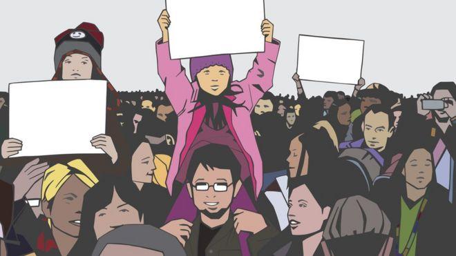 Ilustração mostra algumas crianças junto aos pais em protesto com dezenas de pessoas