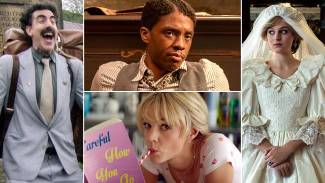 Clockwise from left: Sacha Baron Cohen in Borat 2, Chadwick Boseman in Ma Rainey's Black Bottom, Emma Corrin in The Crown, Carey Mulligan in Promising Young Woman