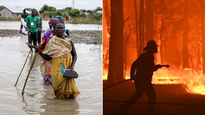 Floods in east Africa and fires in Australia