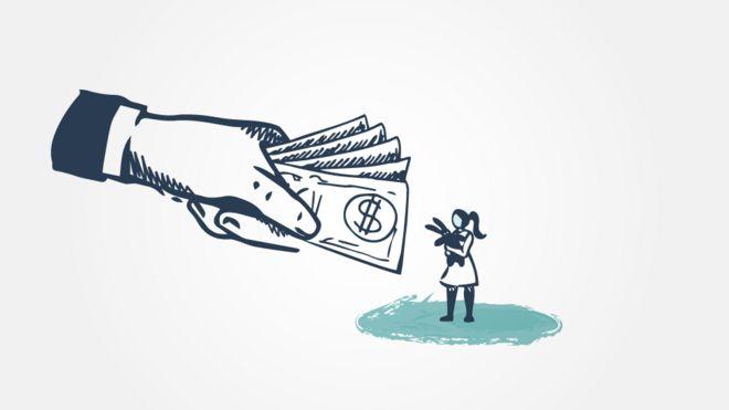 Ilustração de uma menina recebendo dinheiro