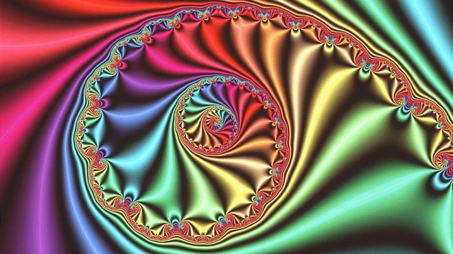 """Gráfico de computadora que muestra una imagen fractal """"espiral"""" tridimensional derivada del Conjunto Julia, inventado y estudiado durante la Primera Guerra Mundial por los matemáticos franceses Gaston Julia y Pierre Fatou."""