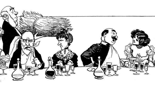 Ilustração de um jantar de pessoas da alta sociedade, com roupas de época; da esquerda para direita: um senhor coloca um garfo na boca, uma senhora olha para ele com ar de reprovação, e um homem com um guardanapo no pescoço conversa com uma mulher com decote