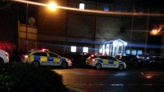 Police cars at HMP Bedford