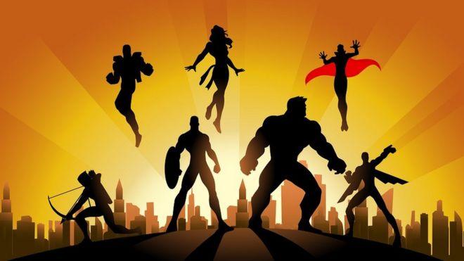 Ilustración con las siluetas de varios superhéroes