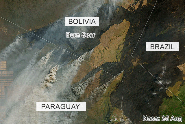 Satellite image of fires in Bolivia and Paraquay
