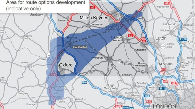 Map Of Uk Oxford.Oxford Cambridge Expressway Preferred Route Announced Bbc News
