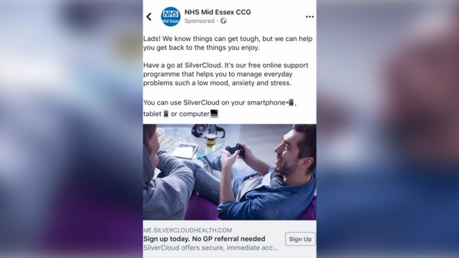 NHS Facebook adverts 'to help lads with mental health' - BBC News