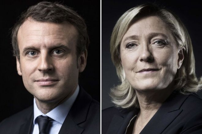 A Combination Of Picture Made On April 23 2017 Shows French Presidential Election Candidate For
