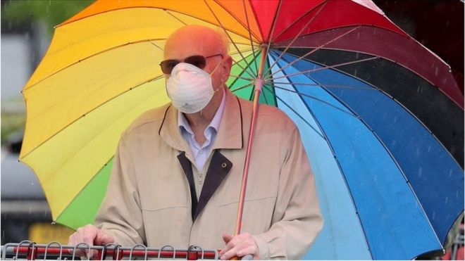 Man with mask and rainbow umbrella
