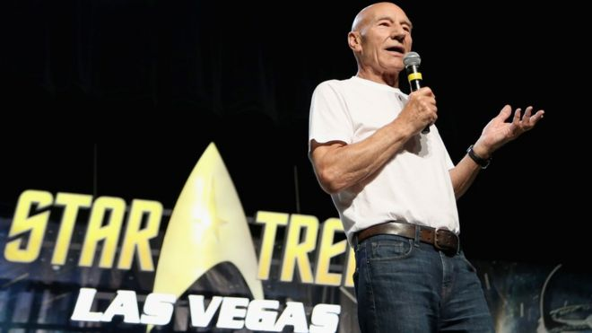 Actor Sir Patrick Stewart speaks during the 17th annual official Star Trek convention