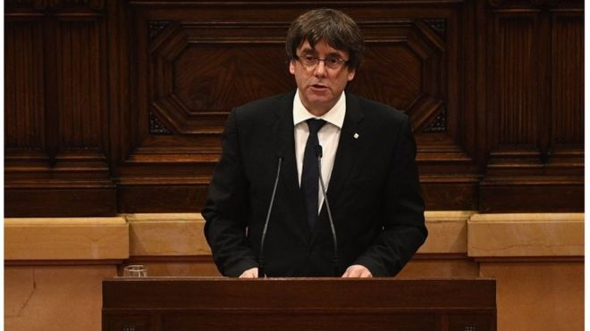 President of Catalonia, Carles Puigdemont, speaks in his address to the Catalan Parliament at the Palau del Parlament de Catalunya on October 10, 2017 in Barcelona, Spain