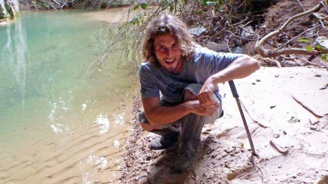 O biólogo Rodrigo Fernando Moro Rios durante trabalho de campo