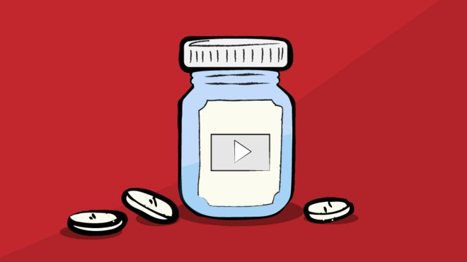Ilustração de recipiente de pílulas com simulação de logo do YouTube