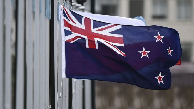 The New Zealand flag flutters outside Parliament buildings in Wellington in Wellington