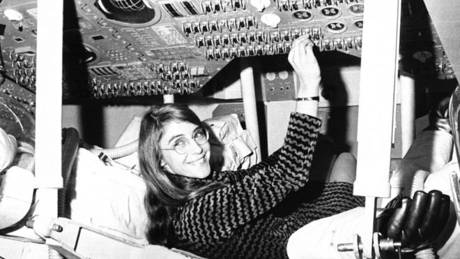 Margaret Hamilton in the 1960s, pictured with Nasa equipment
