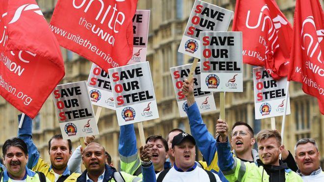 Протест металлургов в Лондоне, Великобритания, 25 мая 2016 года.