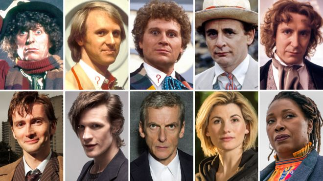 Clockwise from top left: Tom Baker, Peter Davison, Colin Baker, Sylvester McCoy, Paul McGann, Jo Martin, Jodie Whittaker, Peter Capaldi, Matt Smith and David Tennant