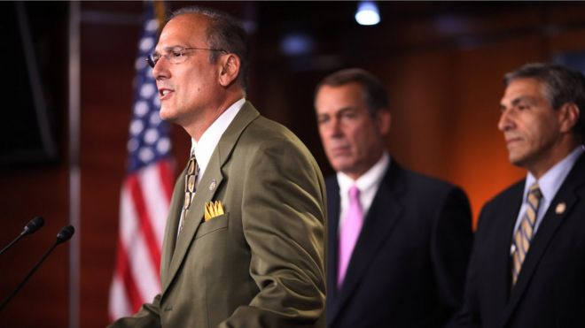 Tom Marino (L) speaks during a news conference in Washington, DC, in 2011.