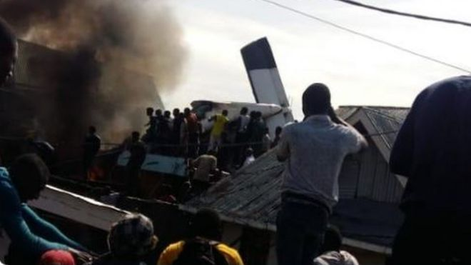 Site of Crash of plane in DR Congo