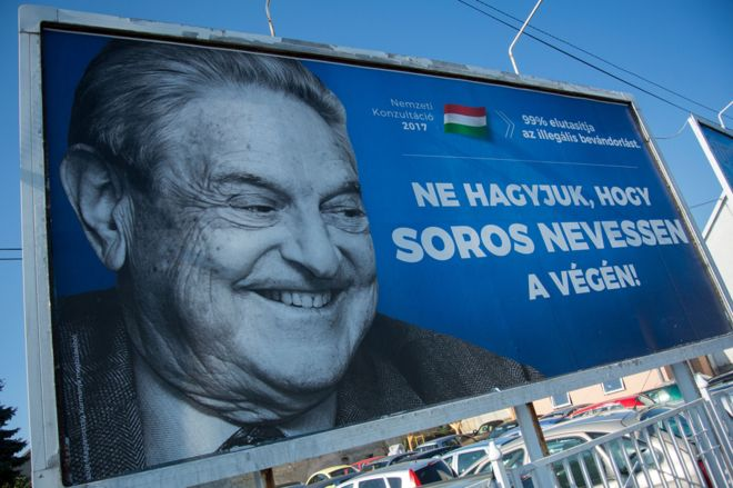 "A billboard tells Hungarians not to let Soros ""have the last laugh"""