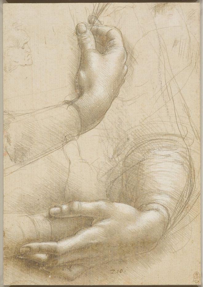 A drawing of a woman's hands by Leonardo da Vinci