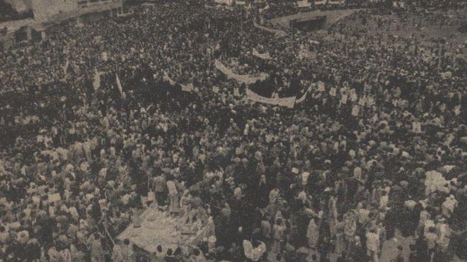 تصویری از تجمع روز کارگر در سال ۱۳۵۸