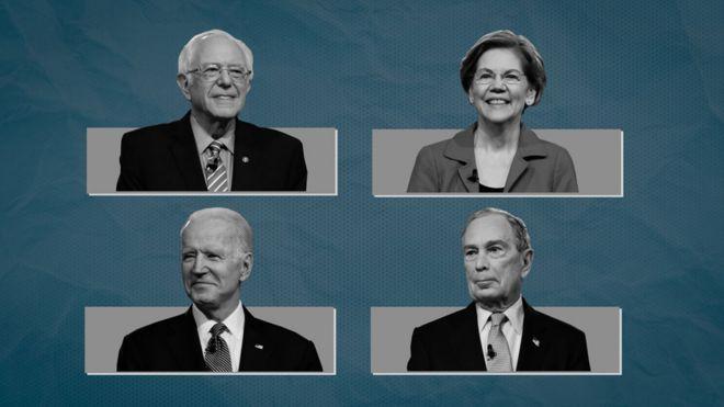 Sanders, Warren, Biden and Bloomberg
