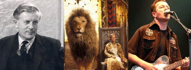 Джо Гримонд (слева), персонажи драматизирующего Льва, ведьмы и гардероба Би-би-си и Джо Страммер