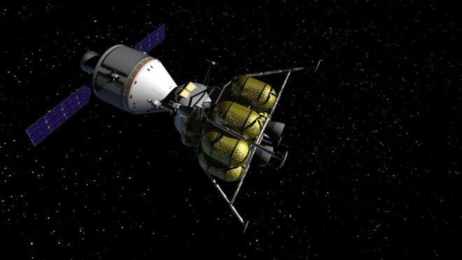 Cápsula da Nasa que levaria astronautas à Lua - imagem conceitual criada por John Frassanito and Associates