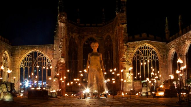 Godiva Awakes in Coventry Cathedral ruins