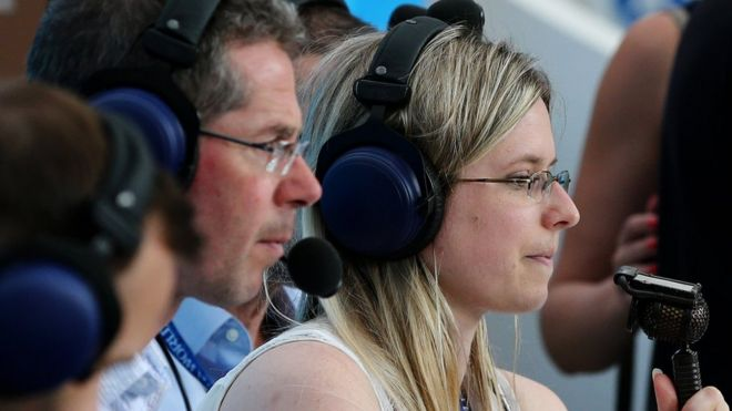 Vicki Sparks commentating on Portugal v Morocco