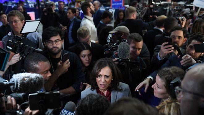Kamala Harris faces the media