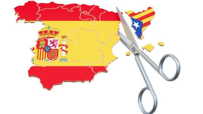 Mapa de España cortando a Cataluña, cada no con sus banderas. (Ilustración: Getty/AlexLMX)