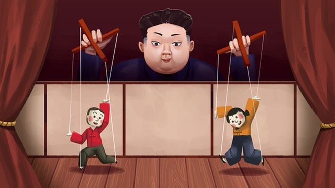 A illustration of Kim Jong-un as a puppeteer