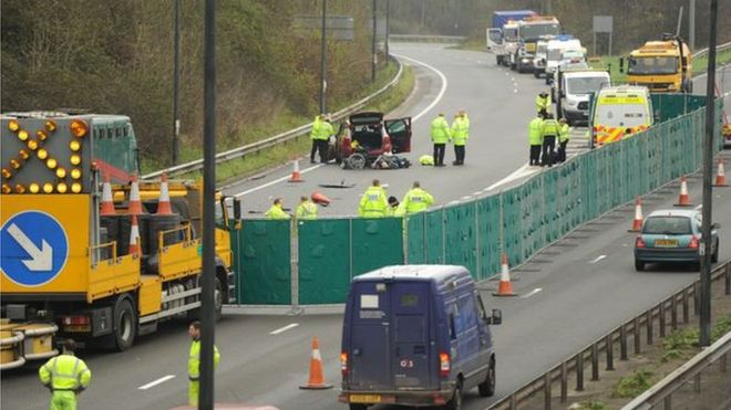 Newport M4 motorway fatal crash inquest opens - BBC News