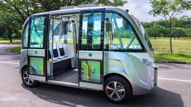 Nanyang Technological University in Singapore already uses driverless shuttles at its campus | BBC.com