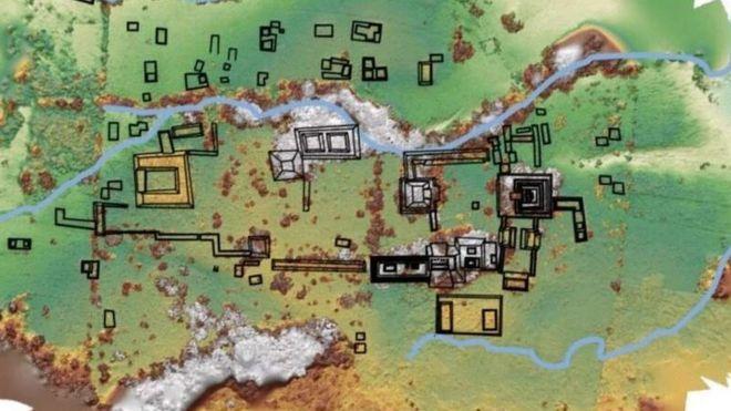 Mapa das ruínas encontradas no México