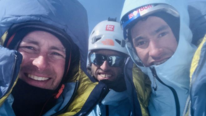 Jess Roskelley, Hansjörg Auer and David Lama on what is believed to be the summit of Howse Peak on Tuesday, April 16, 2019, a day before they were reported missing