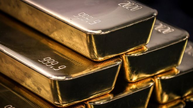 Gold bullion bars polished at the ABC Refinery in Sydney.