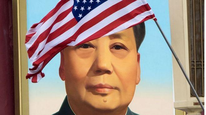 美国国旗与毛泽东像