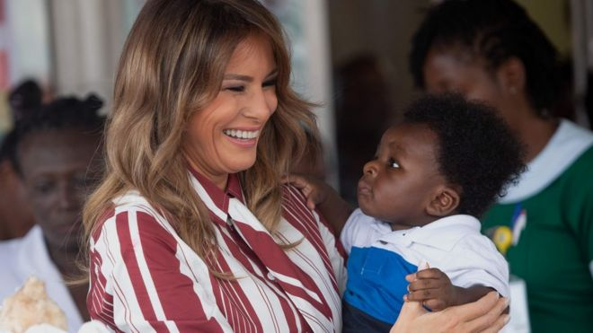 bdf413eb97 Melania Trump with a baby Image copyright AFP Image caption First Lady ...