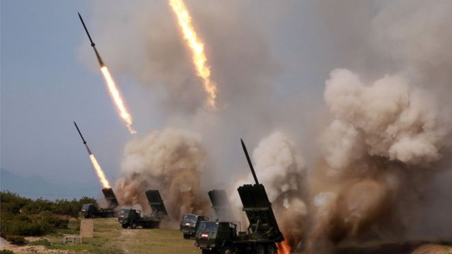 Rocket launchers firing in North Korea, 4 May 2019